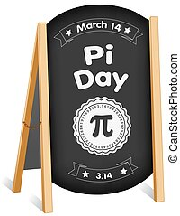Pi-Tag, 14. März, Kreidetafel-Schild, Faltblatt