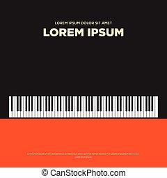 Piano Retro-Saft-Poster, Buchcover Hintergrund Flachbild-Design.