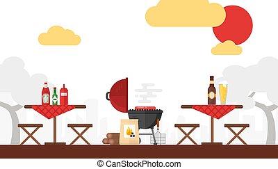 picknick, vektor, party, tables., hintergrund, style., sitzplätze, fire., grillen, bbq, wochenende, draußen, einfache , wohnung, sommer, einstellung, grillfest, illustration., hölzern, kochen, cookout, draußen, hof