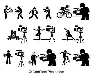 pictogram., influencers, fitness, diät, medien, sport, zufriedene , schöpfer, internet, video, sozial