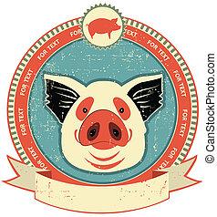 Pig Head Label auf alte Papier Textur.Vintage Stil
