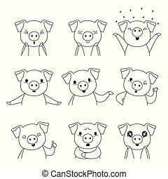 Pig Umriss-Emoticons Ikonen gesetzt, Jahr des Schweins.