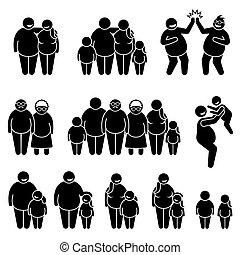 piktogramm, familie, stehende , leute, übergewichtige , figur, dicker , übergewichtige , stock, zusammen, icons.