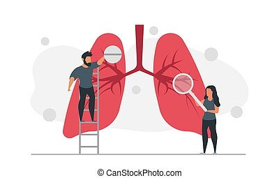 pille, abbildung, lungen, frau, mann, leute, vektor, behandeln, vergrößerungsglas