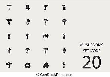 Pilze aus flachen Ikonen. Vector Illustration