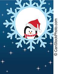 Pinguin auf Schneeflocke