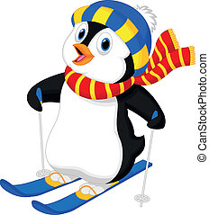 Pinguin Cartoon Skifahren.