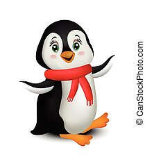 Pinguin-Cartoon Vector isoliert auf weiß.