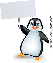 Pinguin mit leerem Zeichen