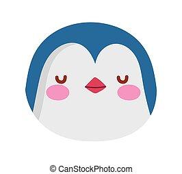pinguin, weißes, zeichen, karikatur, gesicht, hintergrund, reizend