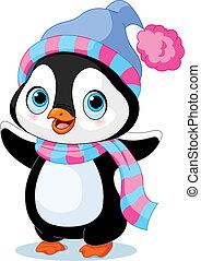 pinguin, winter, reizend