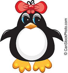 Pinguin-Zeichenvogel. Mädchen.
