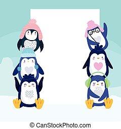 pinguine, banner, reizend