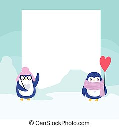 pinguine, banner, winter