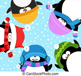 Pinguine feiern den Winter