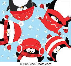 Pinguine feiern Weihnachten