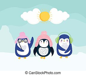 pinguine, hüte, winter
