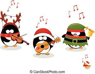 Pinguine spielen Weihnachtsmusik.
