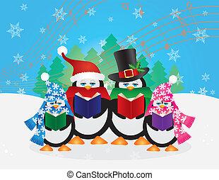 Pinguine, Weihnachtslieder, Schneeszene