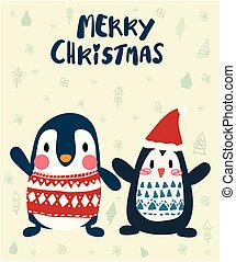 Pinguins im Winter fröhliche Weihnachtskarte.