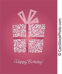 Pink Happy Birthday Card.