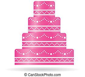 Pink Wedding Kuchen für Einladungen oder Karten.