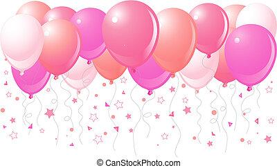 Pinke Ballons fliegen hoch