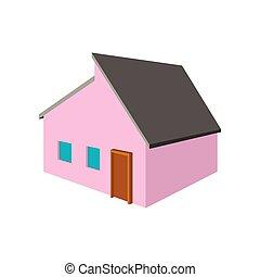 Pinke kleine Cottage Cartoon Ikone.