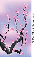 Pinker Blumenzweig