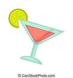 Pinker Cocktail in Martini-Glas mit Kalkschnitt auf weiß