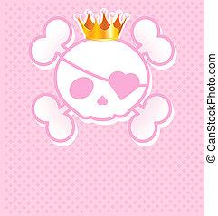 Pinker Schädel mit Krone