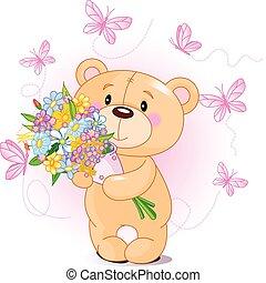 Pinker Teddybär mit Blumen