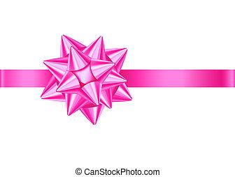 Pinkes dekoratives Geschenkband und Bogen für Valentinstag, Frauentag.