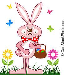 Pinkes Kaninchen mit Ostereier