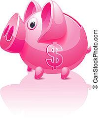 Pinkes Sparschwein mit Dollarzeichen