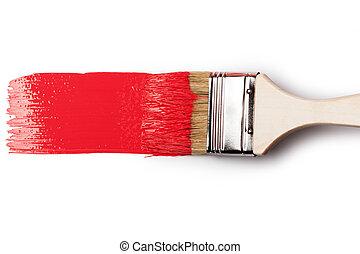Pinsel mit roter Farbe.
