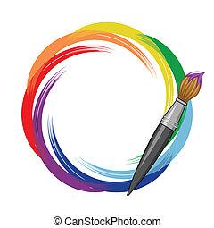 Pinsel Regenbogen Hintergrund.
