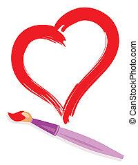 Pinsel und gemaltes Herz