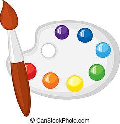 Pinsel und Palette von Farben