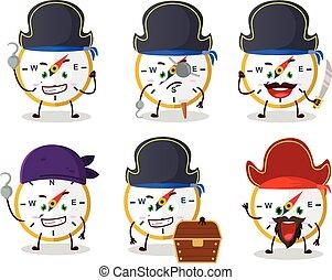 piraten, emoticons, verschieden, zeichen, kompaß, karikatur