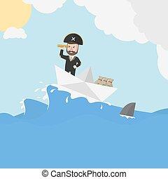 Piraten-Geschäftsmann-Segler-Trip.