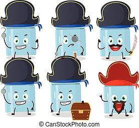 piraten, kühlschrank, verschieden, karikatur, zeichen, emoticons