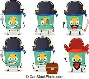 piraten, verschieden, karikatur, zeichen, emoticons, sunblock