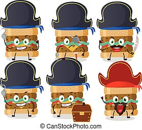 piraten, verschieden, zeichen, hamburger, emoticons, karikatur