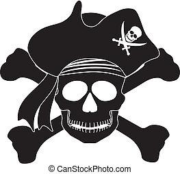 Piratenschädel, schwarze, weiße Illustration