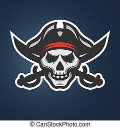 Piratenschädel und Schwerter.