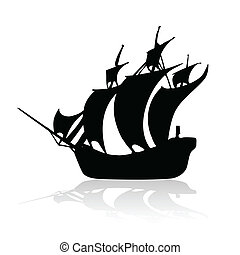 Piratenschiff schwarz auf weißem Rücken