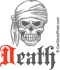 Piratensenschädel-Sketch mit bandanna