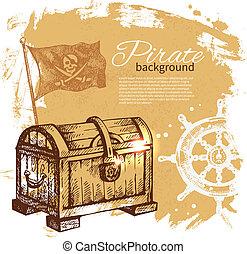 Pirater alter Hintergrund. See nautische Konstruktion. Hand gemalte Illustration