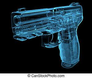 Pistol (3D Röntgenbild blau durchschaubar)